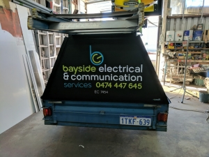 Work trailer at workshop-Electrician Busselton - Bayside Electrical & Communication Services 0474 447 645