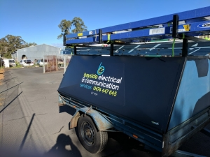 Work trailer on site-Electrician Busselton - Bayside Electrical & Communication Services 0474 447 645