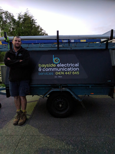 Work trailer with company owner-Electrician Busselton - Bayside Electrical & Communication Services 0474 447 645